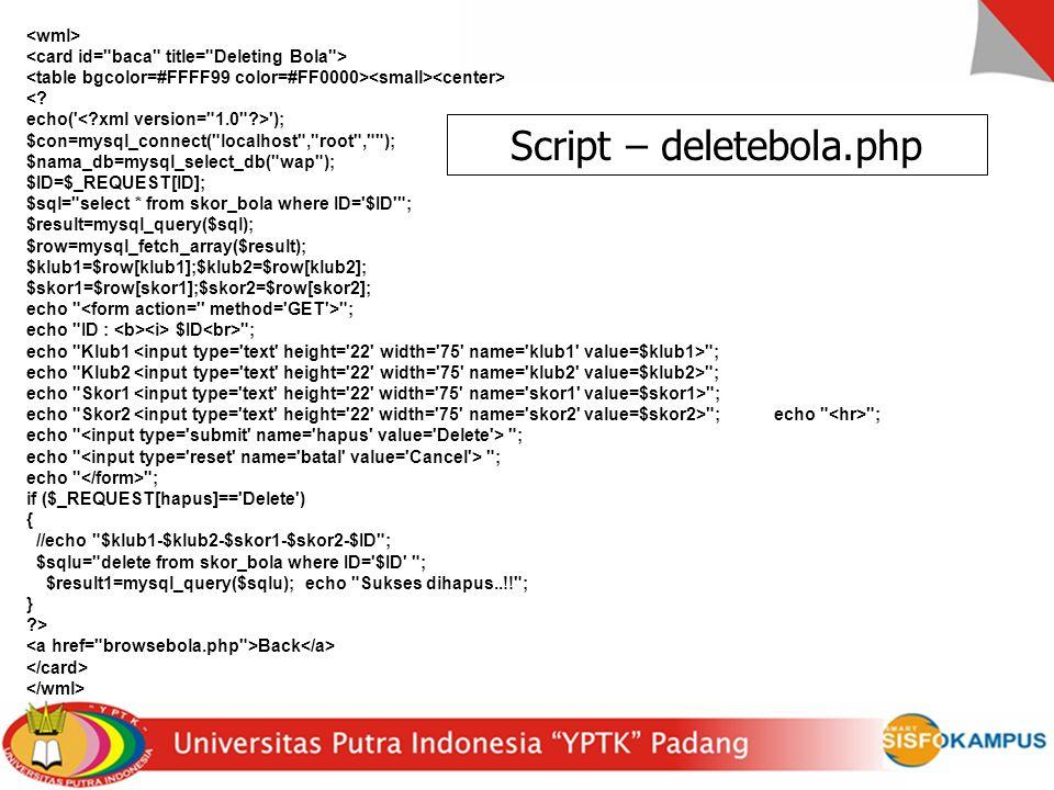 Script – deletebola.php