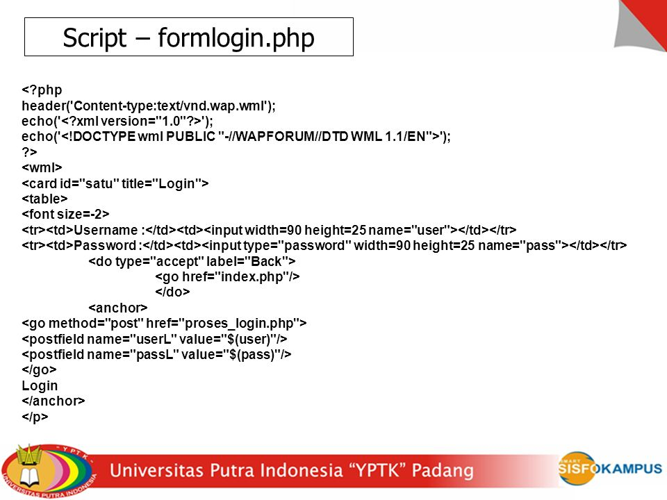 Script – formlogin.php < php
