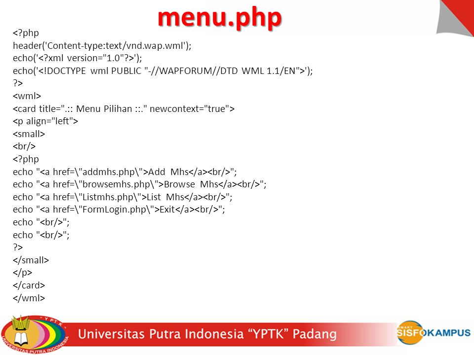 menu.php < php header( Content-type:text/vnd.wap.wml );