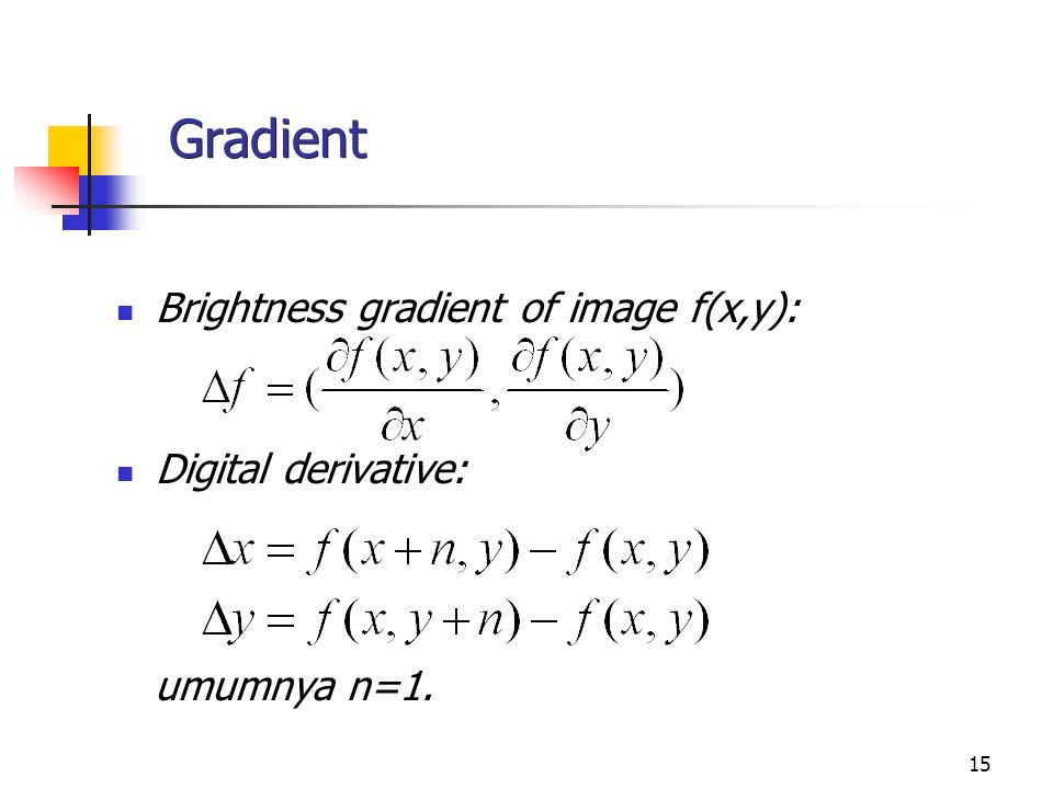 Gradient Brightness gradient of image f(x,y): Digital derivative: