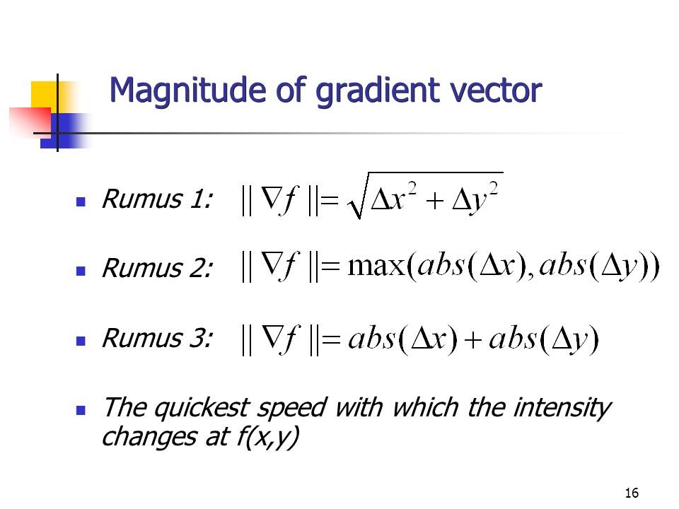 Magnitude of gradient vector