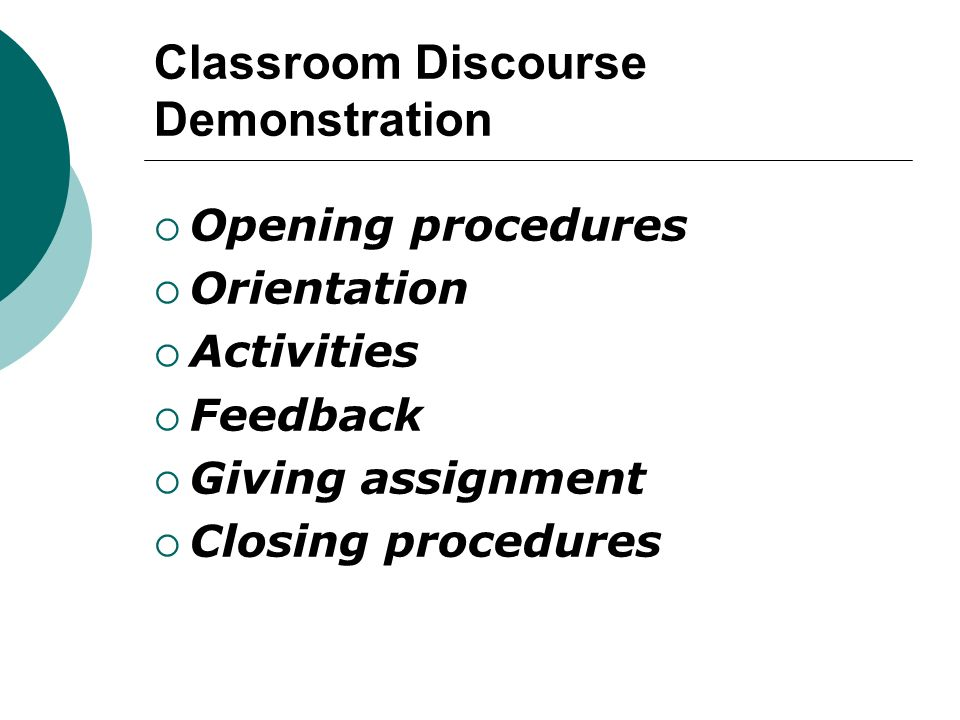 Classroom Discourse Demonstration