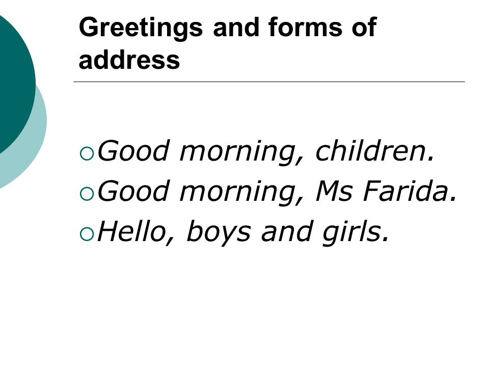 Greetings and forms of address
