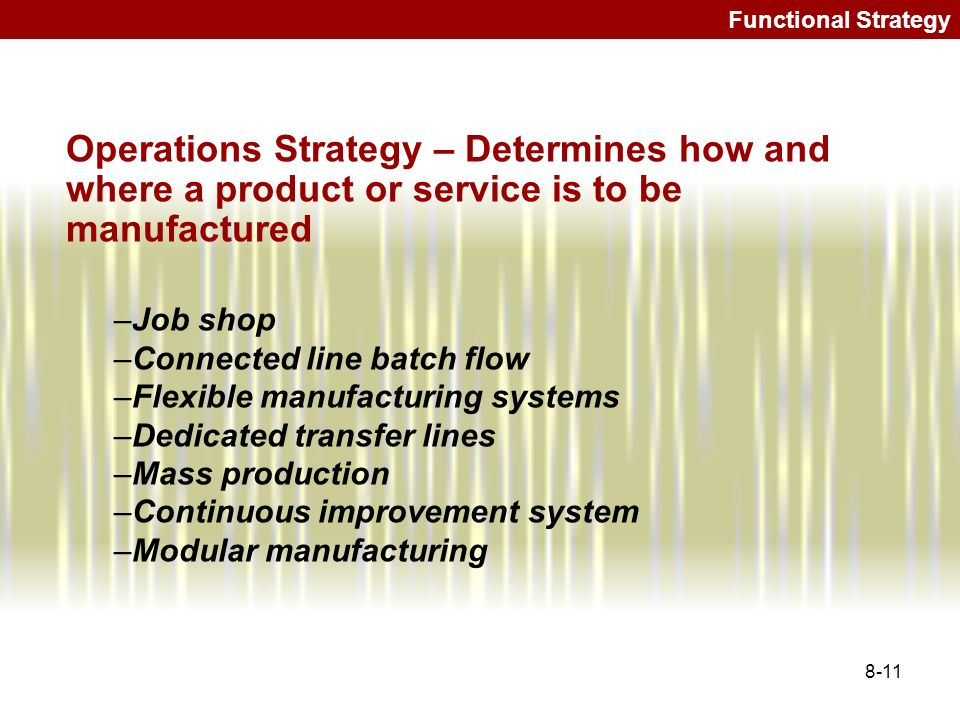 Functional Strategy Operations Strategy – Determines how and where a product or service is to be manufactured.