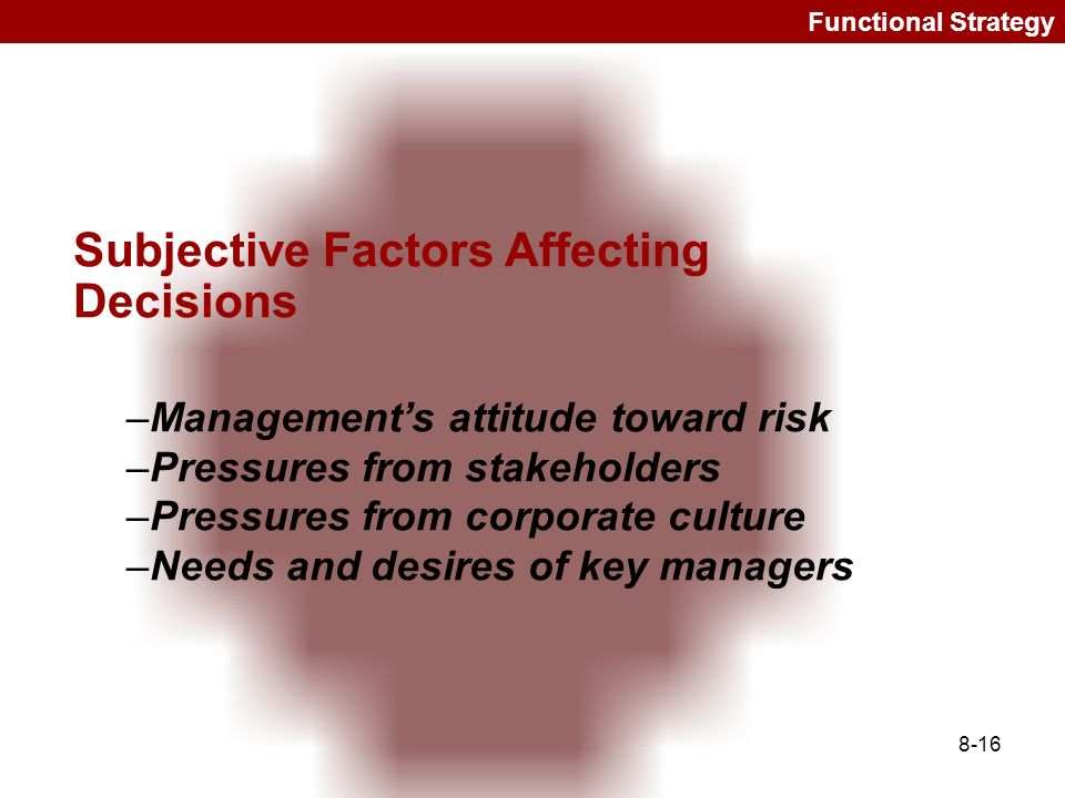 Subjective Factors Affecting Decisions