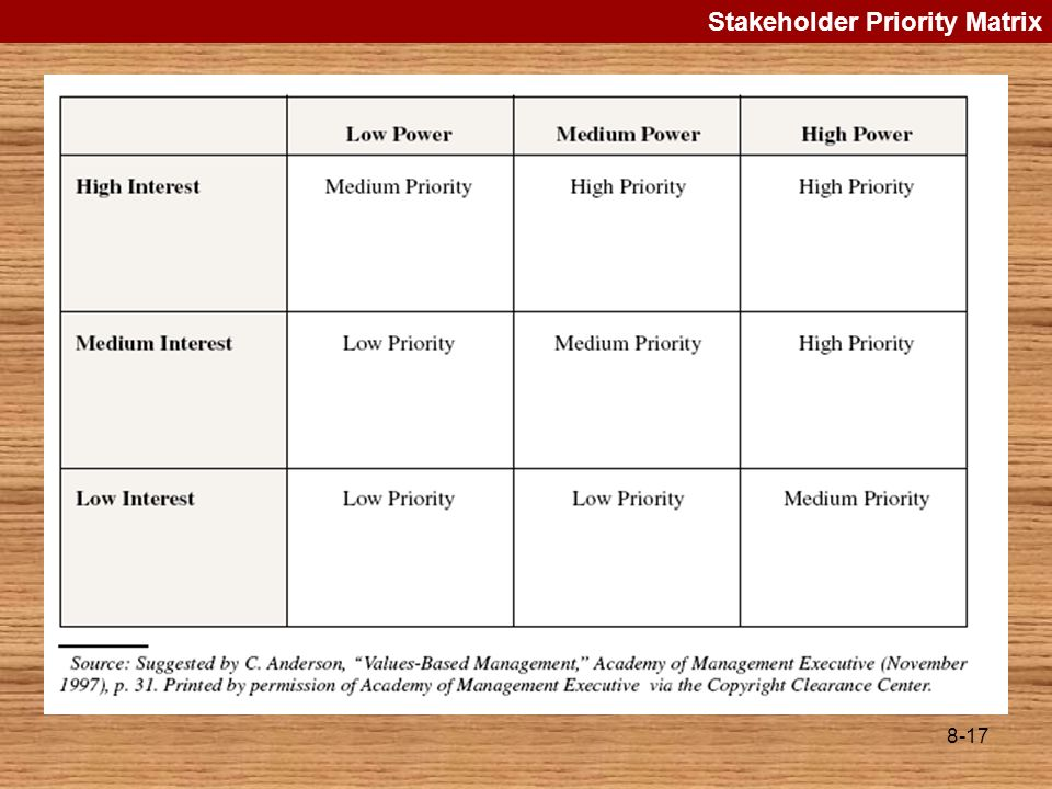 Stakeholder Priority Matrix