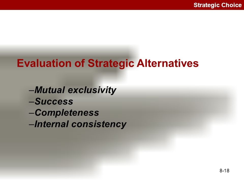 Evaluation of Strategic Alternatives