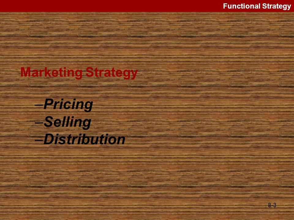 Pricing Selling Distribution Marketing Strategy Functional Strategy