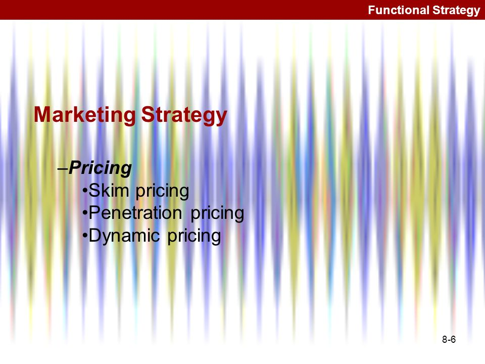 Marketing Strategy Pricing Skim pricing Penetration pricing