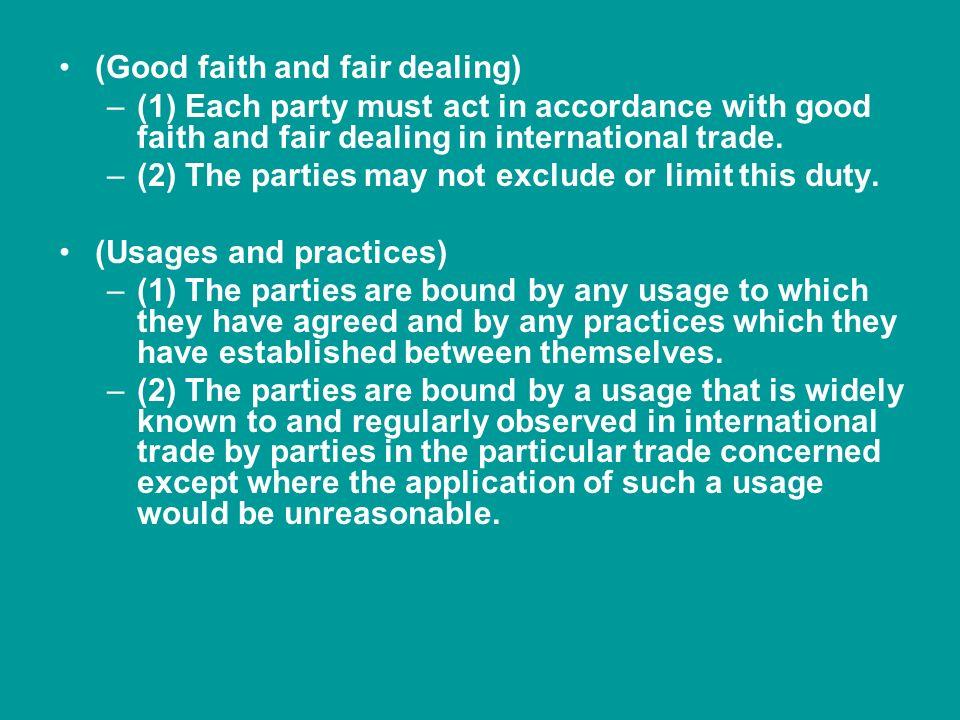 (Good faith and fair dealing)