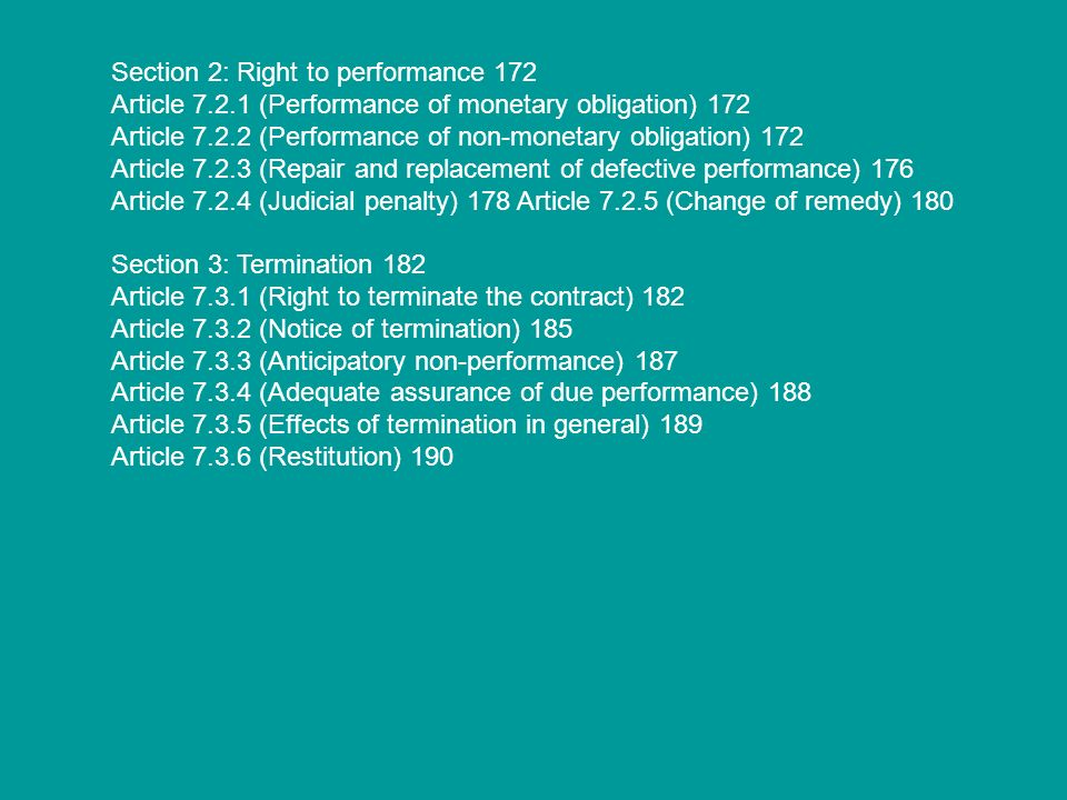 Section 2: Right to performance 172