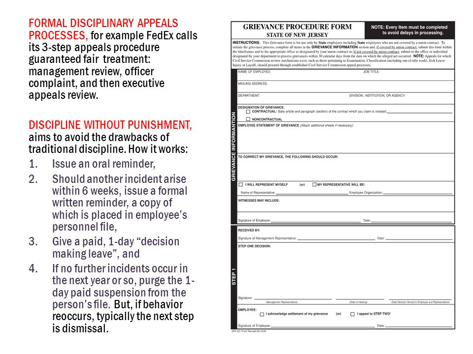 FORMAL DISCIPLINARY APPEALS PROCESSES, for example FedEx calls its 3-step appeals procedure guaranteed fair treatment: management review, officer complaint, and then executive appeals review.