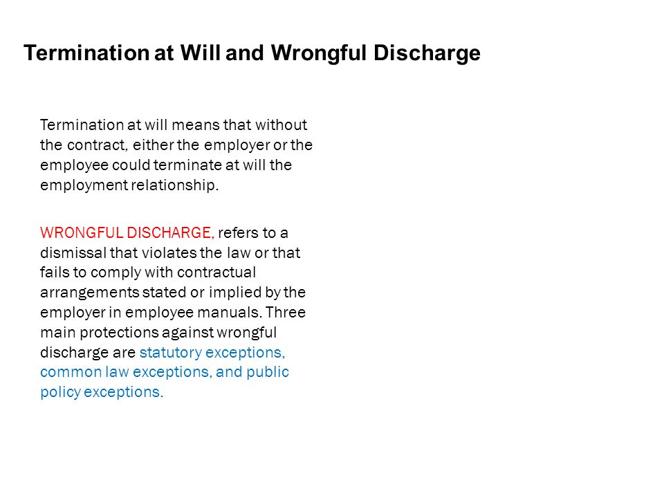 Termination at Will and Wrongful Discharge