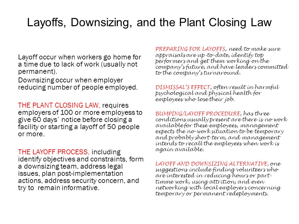 Layoffs, Downsizing, and the Plant Closing Law