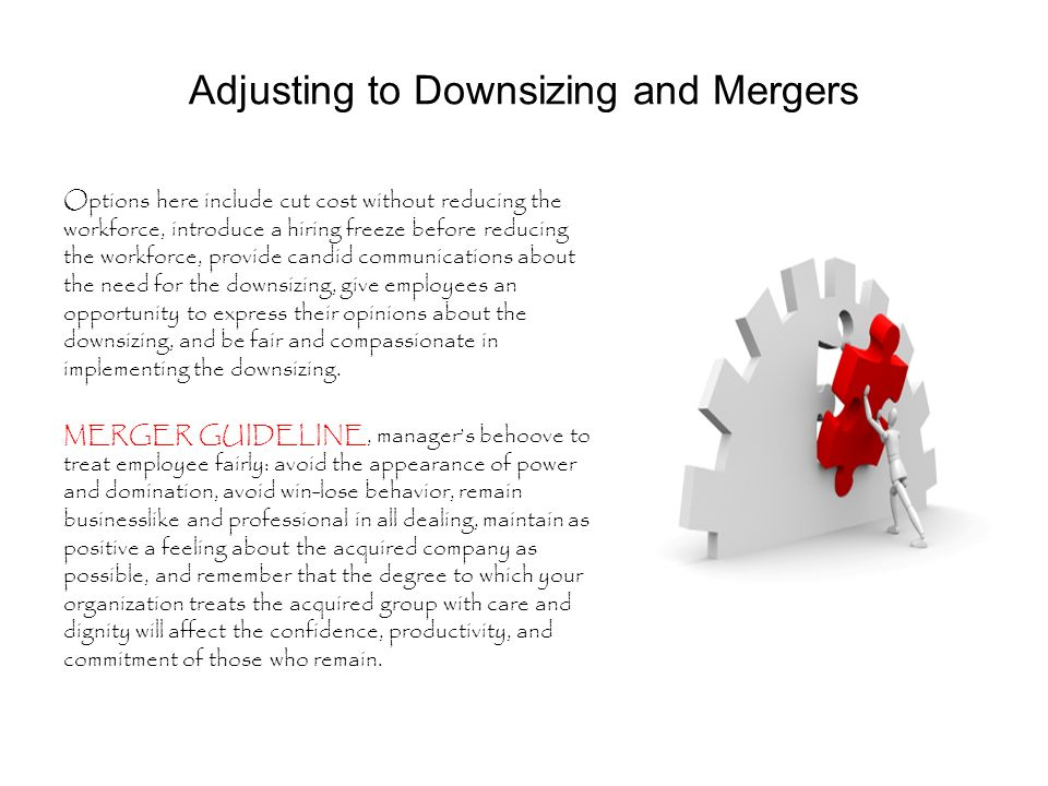 Adjusting to Downsizing and Mergers