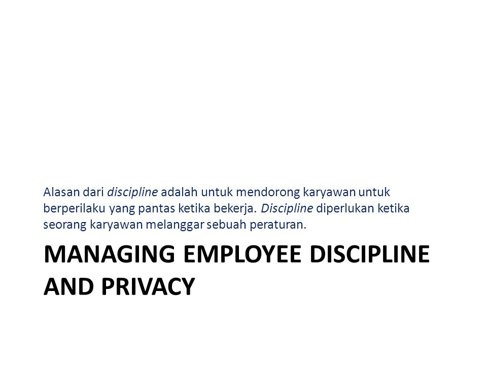 Managing employee discipline and privacy