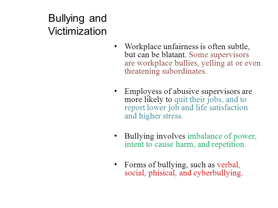 Bullying and Victimization
