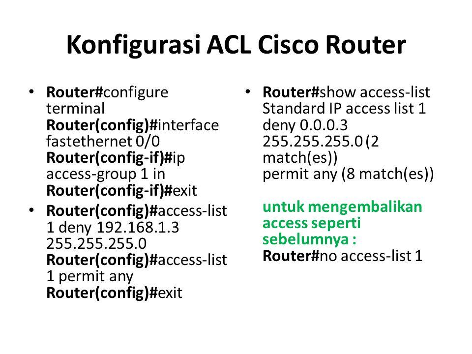 Konfigurasi ACL Cisco Router