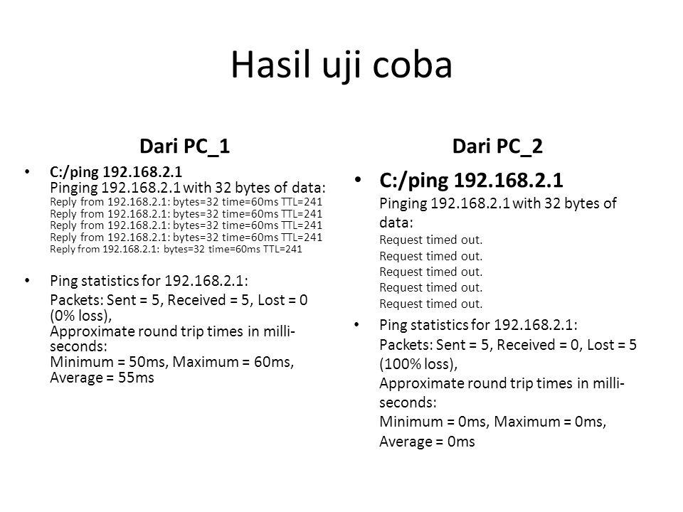 Hasil uji coba Dari PC_1 Dari PC_2
