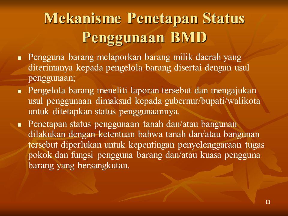 Mekanisme Penetapan Status Penggunaan BMD