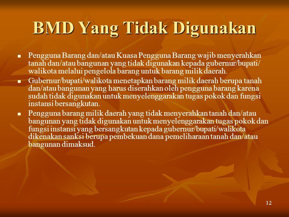 BMD Yang Tidak Digunakan