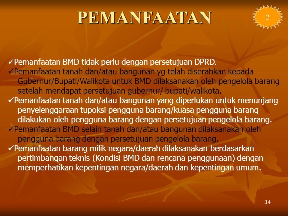 PEMANFAATAN Pemanfaatan BMD tidak perlu dengan persetujuan DPRD.