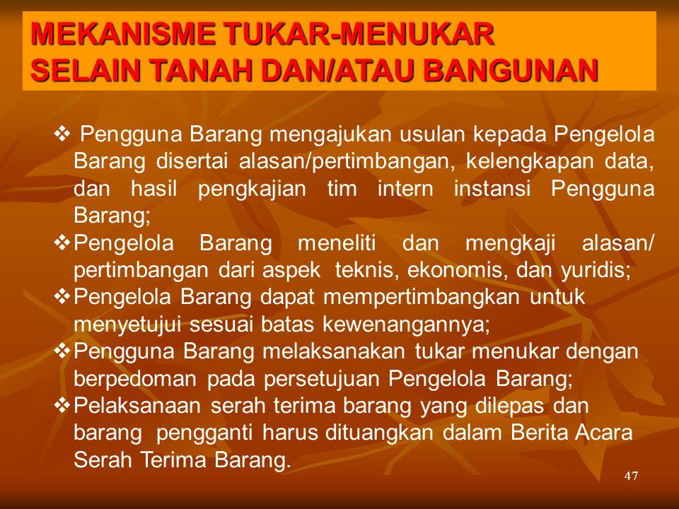 MEKANISME TUKAR-MENUKAR SELAIN TANAH DAN/ATAU BANGUNAN