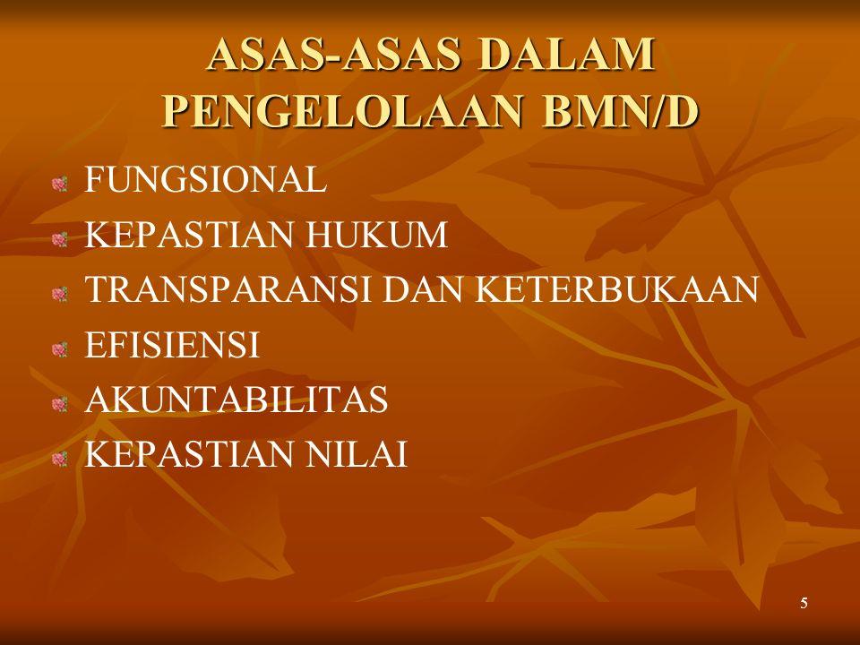 ASAS-ASAS DALAM PENGELOLAAN BMN/D