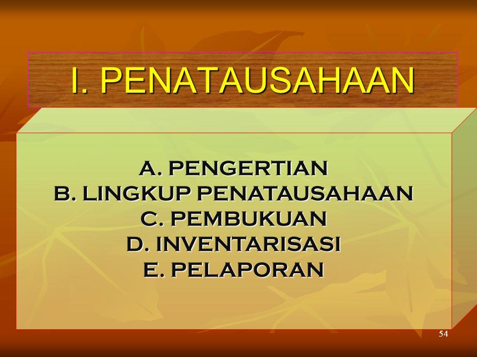 B. LINGKUP PENATAUSAHAAN