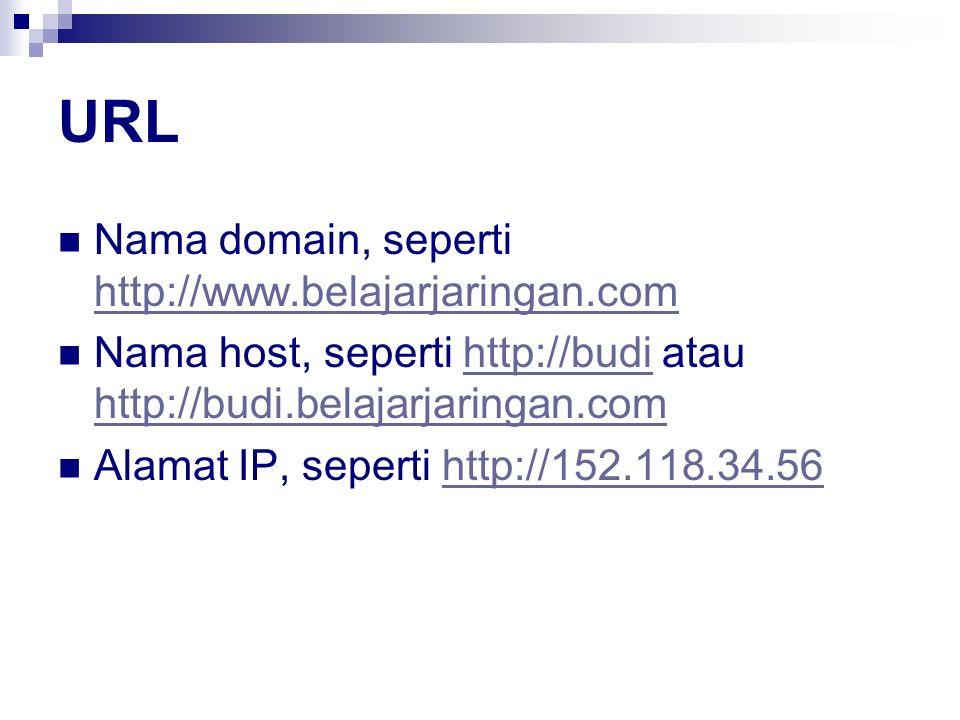 URL Nama domain, seperti http://www.belajarjaringan.com