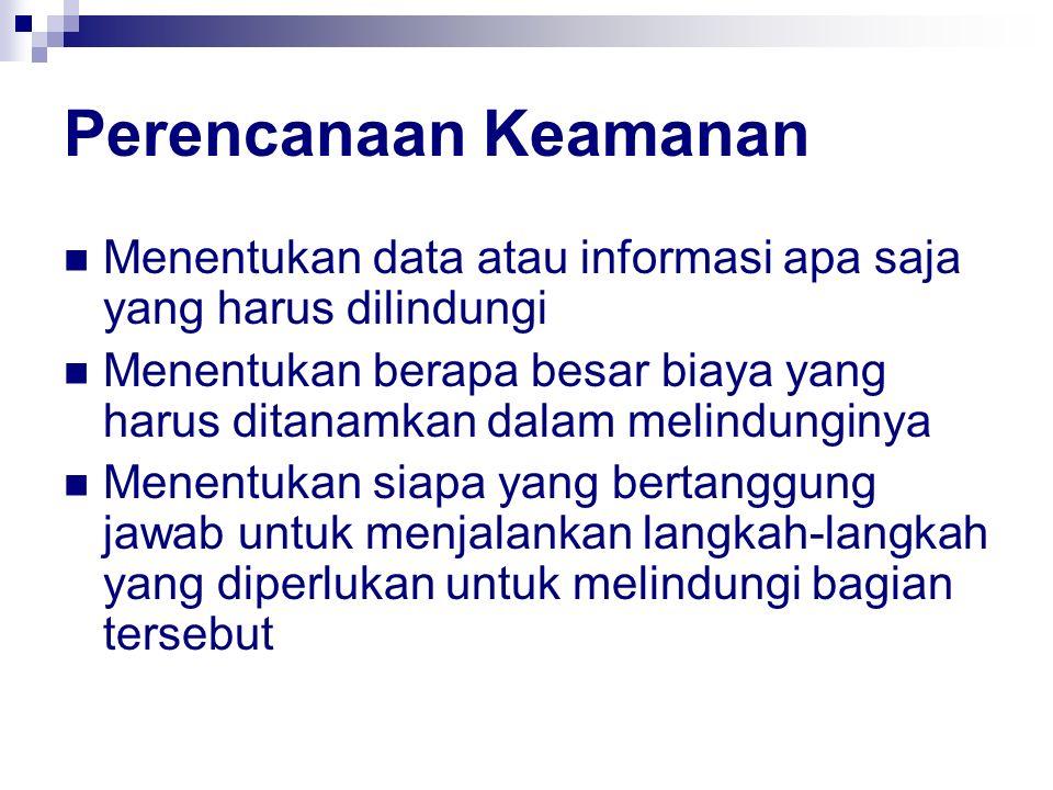 Perencanaan Keamanan Menentukan data atau informasi apa saja yang harus dilindungi.