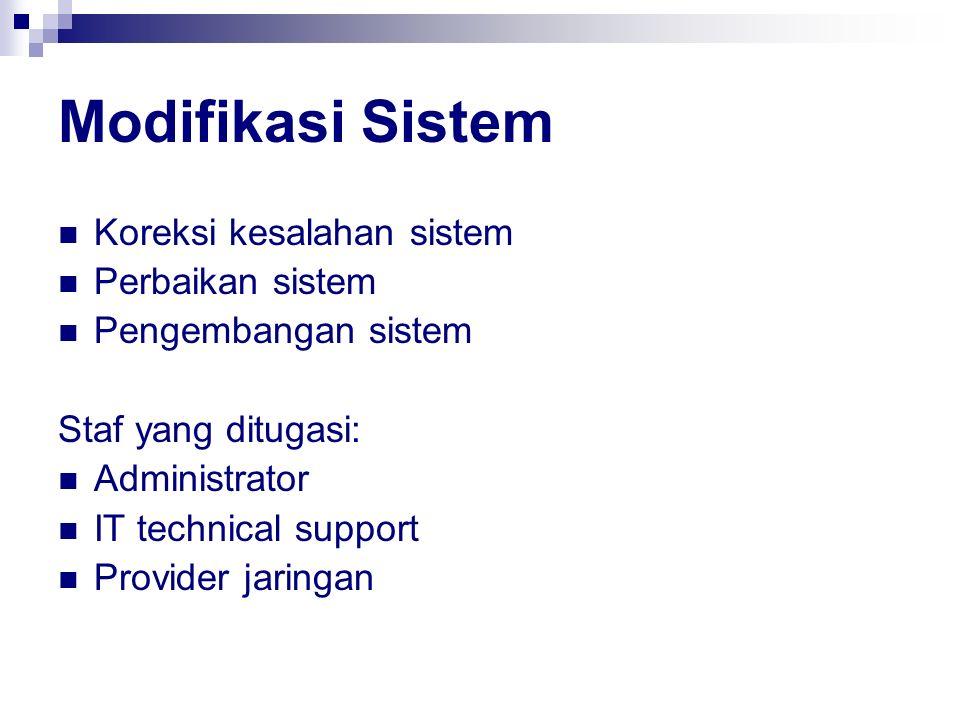 Modifikasi Sistem Koreksi kesalahan sistem Perbaikan sistem