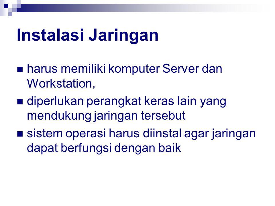 Instalasi Jaringan harus memiliki komputer Server dan Workstation,