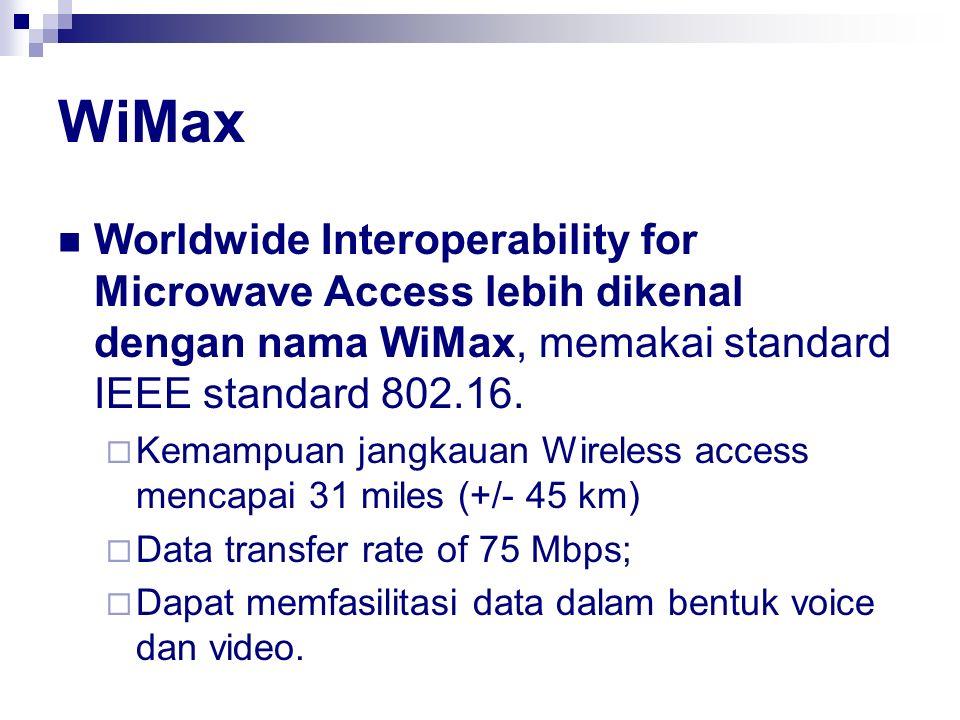 WiMax Worldwide Interoperability for Microwave Access lebih dikenal dengan nama WiMax, memakai standard IEEE standard 802.16.