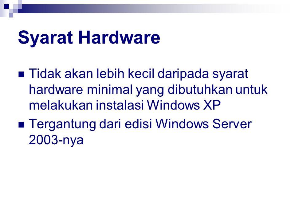 Syarat Hardware Tidak akan lebih kecil daripada syarat hardware minimal yang dibutuhkan untuk melakukan instalasi Windows XP.