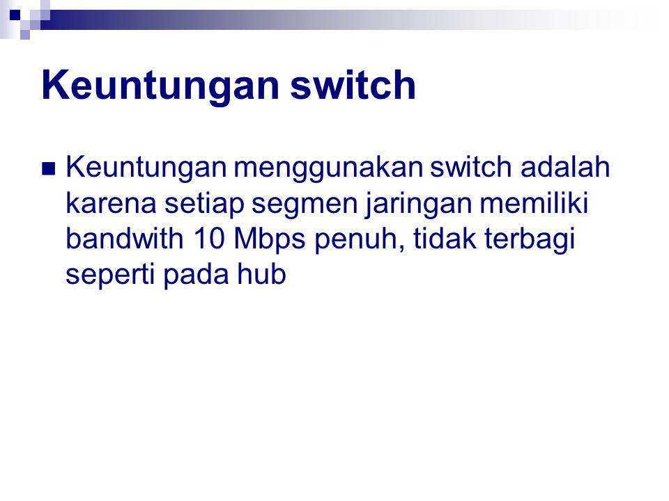 Keuntungan switch Keuntungan menggunakan switch adalah karena setiap segmen jaringan memiliki bandwith 10 Mbps penuh, tidak terbagi seperti pada hub.