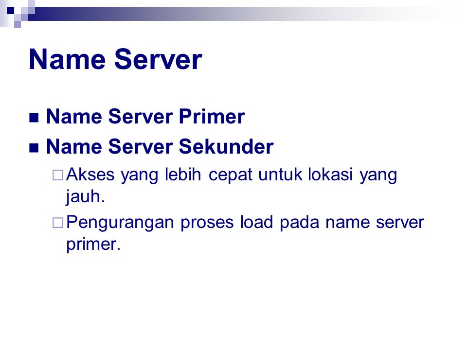 Name Server Name Server Primer Name Server Sekunder