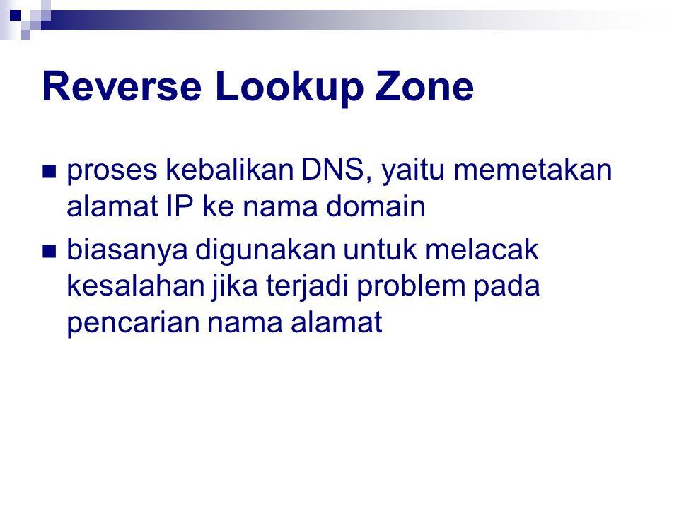 Reverse Lookup Zone proses kebalikan DNS, yaitu memetakan alamat IP ke nama domain.