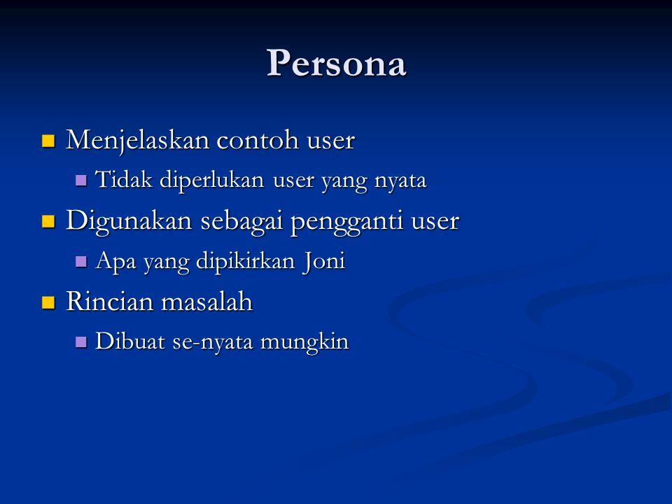 Persona Menjelaskan contoh user Digunakan sebagai pengganti user
