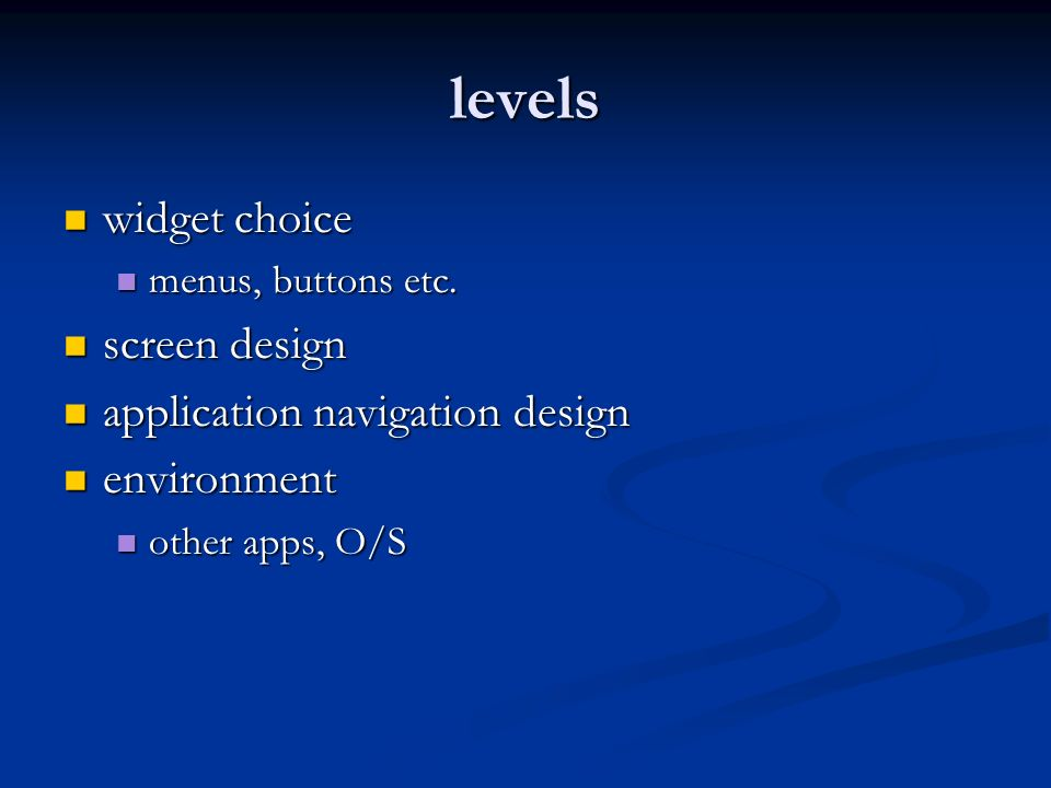 levels widget choice screen design application navigation design