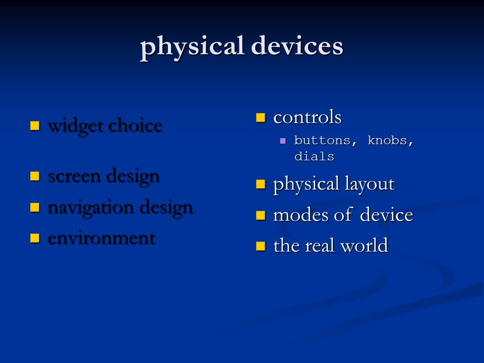 physical devices controls physical layout modes of device