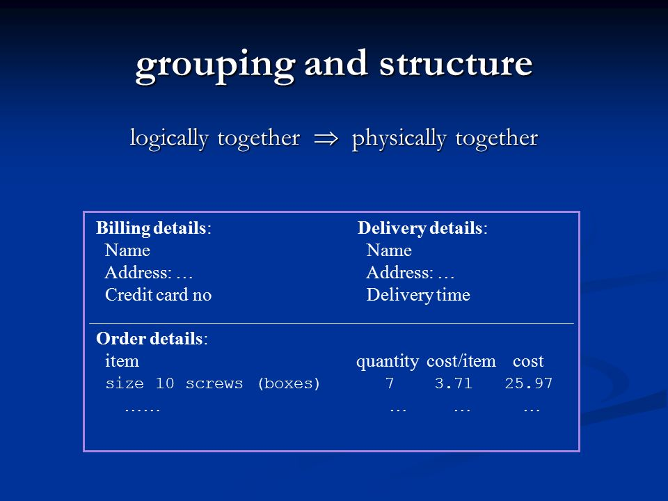 grouping and structure