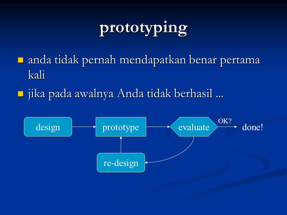 prototyping anda tidak pernah mendapatkan benar pertama kali