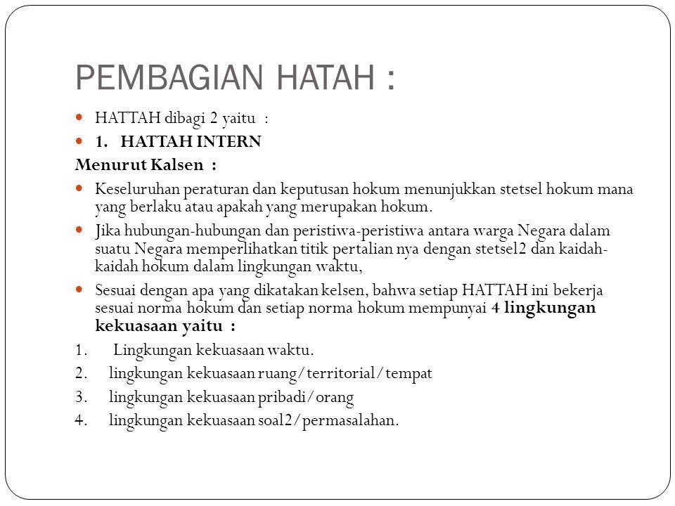 PEMBAGIAN HATAH : HATTAH dibagi 2 yaitu : 1. HATTAH INTERN