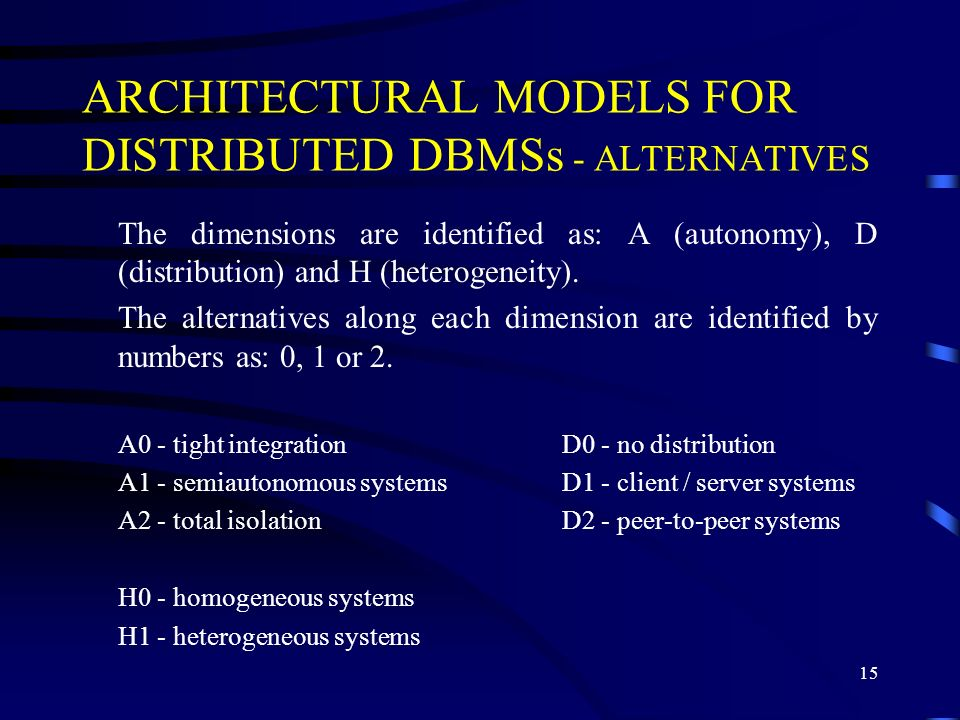 ARCHITECTURAL MODELS FOR DISTRIBUTED DBMSs - ALTERNATIVES