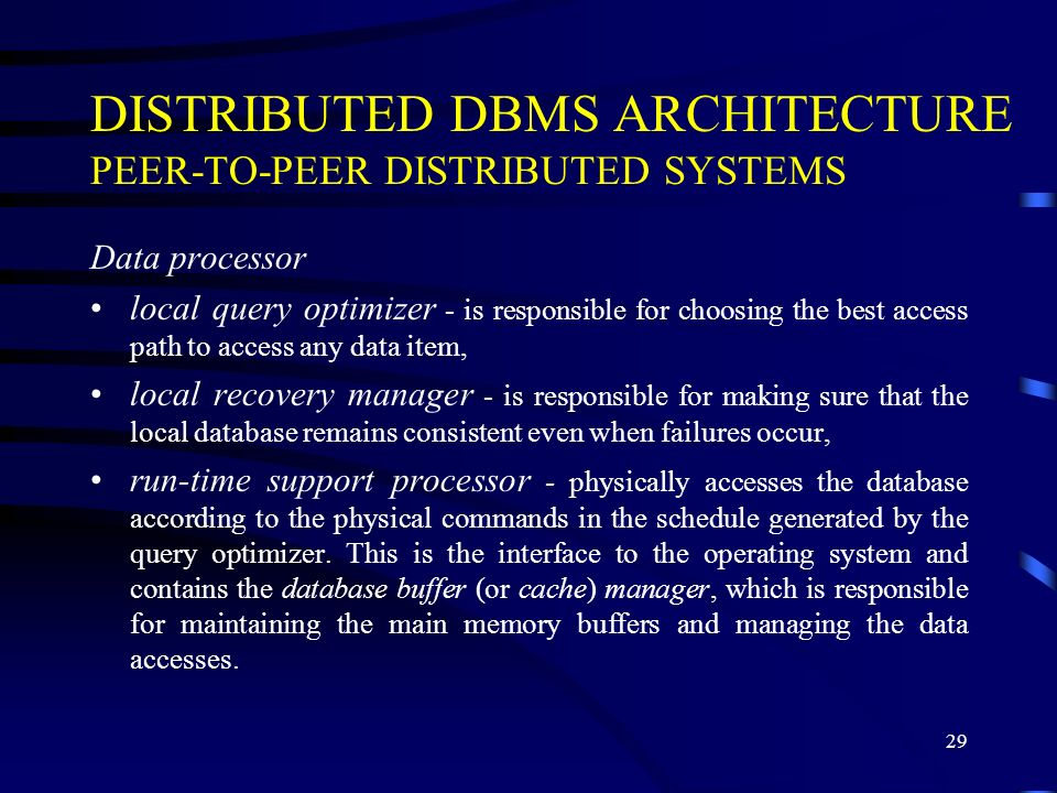 DISTRIBUTED DBMS ARCHITECTURE PEER-TO-PEER DISTRIBUTED SYSTEMS