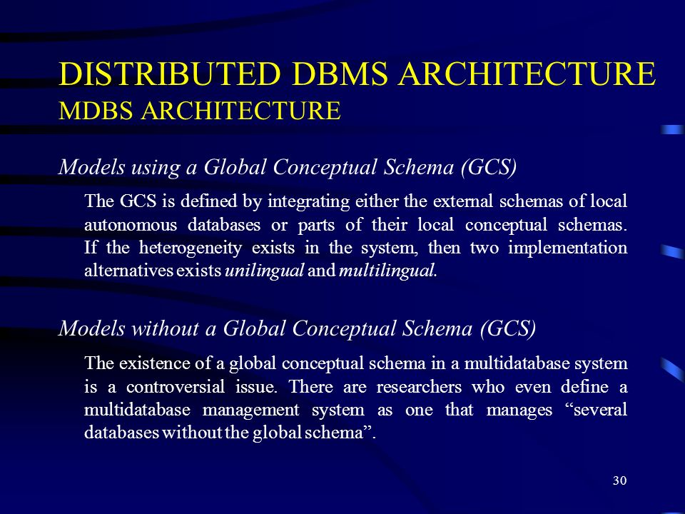 DISTRIBUTED DBMS ARCHITECTURE MDBS ARCHITECTURE