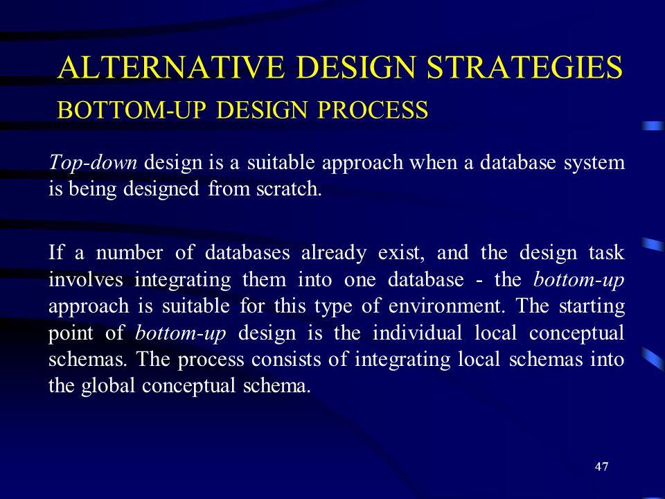 ALTERNATIVE DESIGN STRATEGIES BOTTOM-UP DESIGN PROCESS