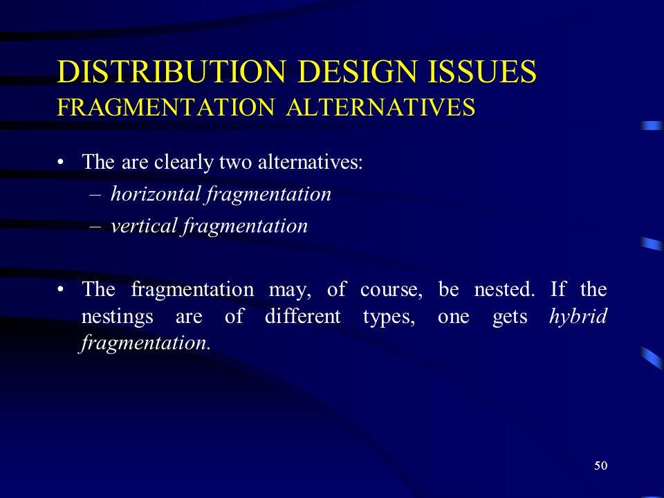 DISTRIBUTION DESIGN ISSUES FRAGMENTATION ALTERNATIVES
