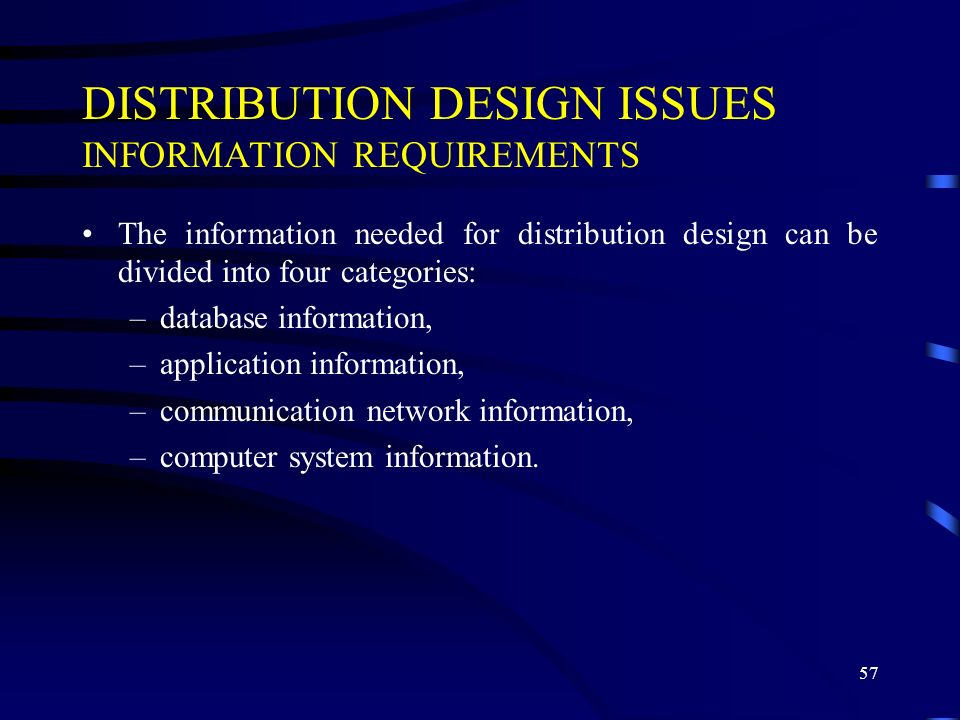 DISTRIBUTION DESIGN ISSUES INFORMATION REQUIREMENTS